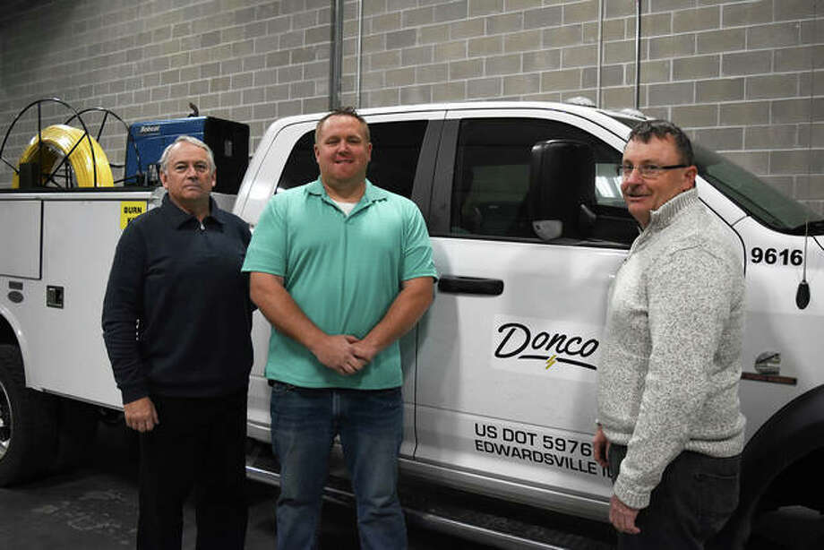 Donco's new gass construction services division. From left, Ed Scott, superintendent gas operations manager; Ty Taake, gas general foreman; Mark Holdener, gas operations manager (not pictured, Danny Tyler, Gas Foreman) Photo: For The Intelligencer