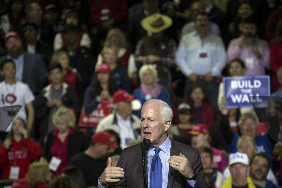 Senator John Cornyn, a Republican from Texas, speaks during a rally for U.S. President Donald Trump in El Paso, Texas, U.S., on Monday, Feb. 11, 2019. Trumpand prospective Democratic challengerBeto O'Rourketook part in dueling rallies in Texas on Monday, with each using the president's proposed border wall as an early proxy for the 2020 election. Photographer: Adria Malcolm/Bloomberg
