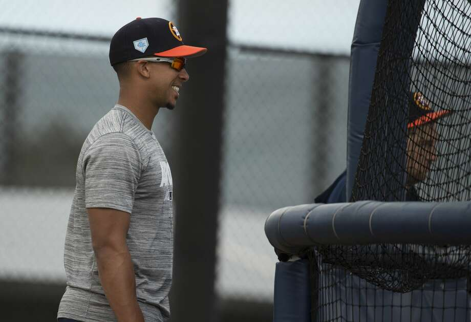 Houston Astros left fielder Michael Brantley watches other left handed hitters practice at Fitteam Ballpark of The Palm Beaches on Day 1 of spring training on Thursday, Feb. 14, 2019, in West Palm Beach. Photo: Yi-Chin Lee/Houston Chronicle