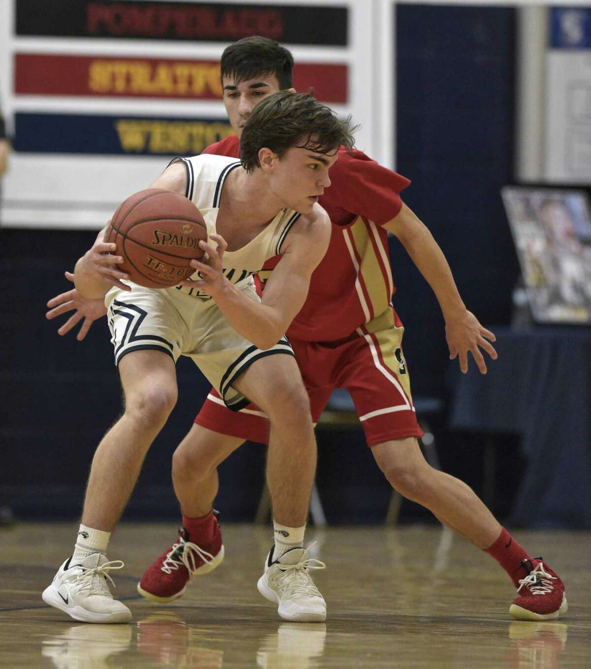 Boys basketball game between Stratford and Immaculate high schools, Thursday night, February 14, 2019, at Immaculate High School, in Danbury, Conn.