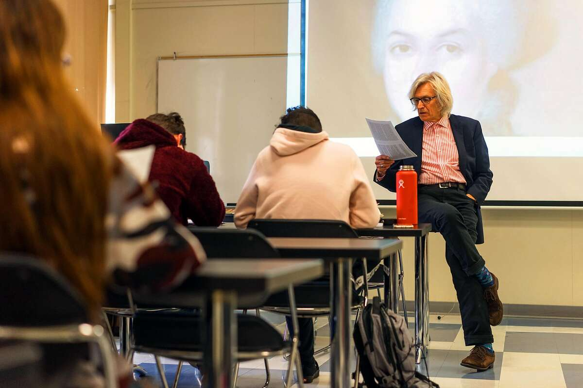 History Professor Stephen Cole lectures at Notre Dame de Namur in Belmont, Calif. on Tuesday, Feb. 5, 2018. Professor Cole's eyes were opened after learning one of his students solicited help from an online company to write a history paper. An Emeryville company will now debut a tool to combat the problem.