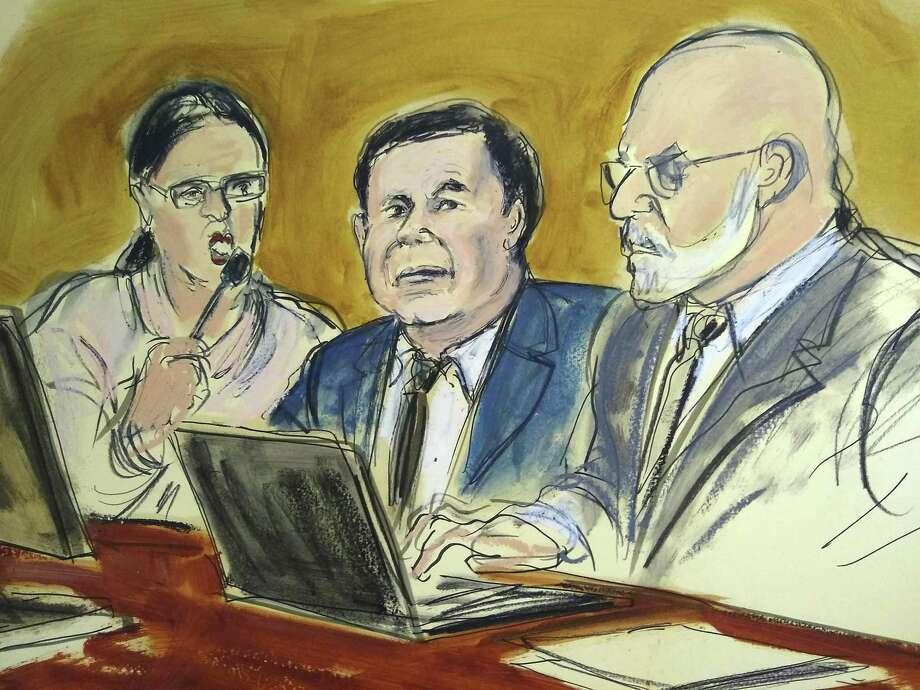 """Imagen ilustrativa del juicio al narcotraficante mexicano Joaquín """"El Chapo"""" Guzmán en un tribunal en Brooklyn, el jueves 7 de febrero de 2019. Photo: Elizabeth Williams /Associated Press / FRE 142054 AP"""