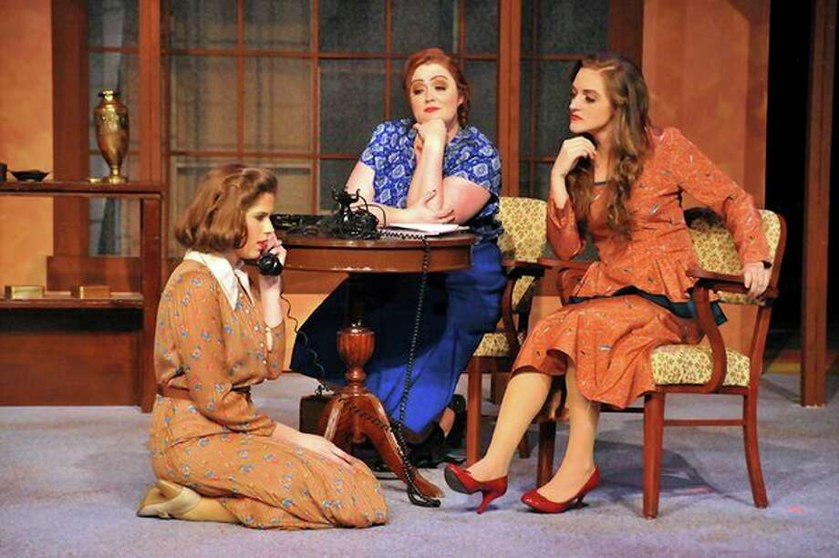 Grace McLaughlin, Megan Applegate and Keara Dixonact out a scene in Center Stage Theatre's 'The Women.'(Photo provided/Titus Photography)
