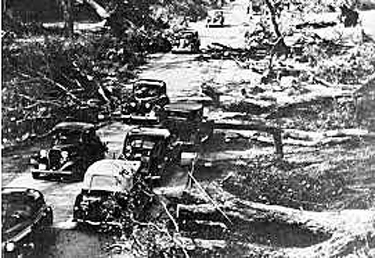 The huge hurricane of 1938 struck this area with force, downing trees along the Merritt Parkway, parts of which were still under construction.