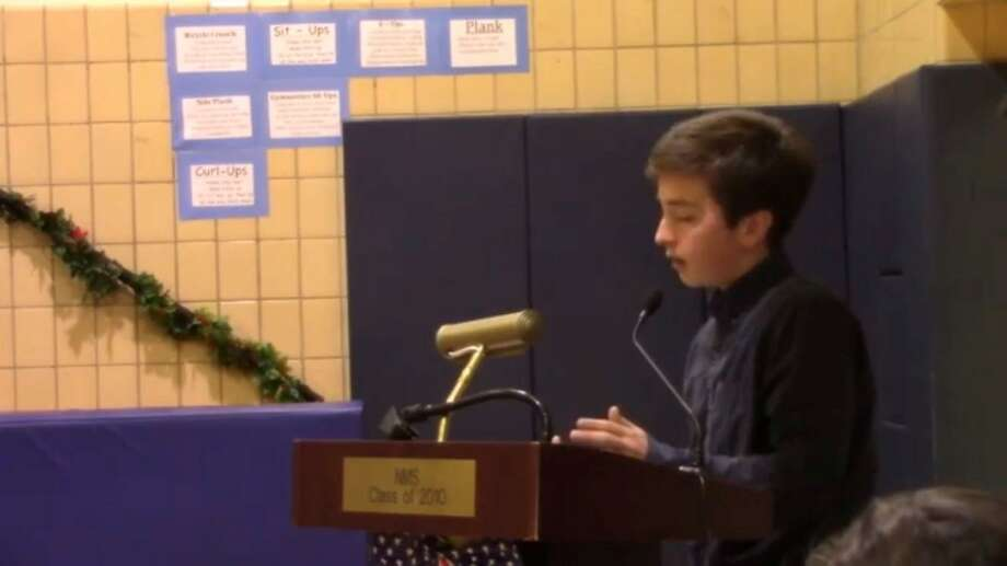 Toby Hirsch speaks before the Greenwich Board of Education in December about his ideas to improve Opportunity Block. Photo: Jo Kroeker / Hearst Media Group