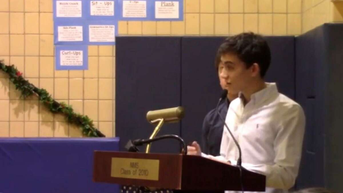 Lucas Gazianis speaks before the Greenwich school board in December about his ideas to improve Opportunity Block.