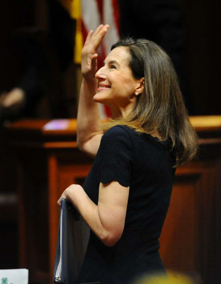 Lt. Gov. Susan Bysiewicz waves to the gallery before being sworn in at the Capitol in Hartford, Conn. on Wednesday, Jan. 9, 2019. Photo: Brian A. Pounds / Hearst Connecticut Media / Connecticut Post
