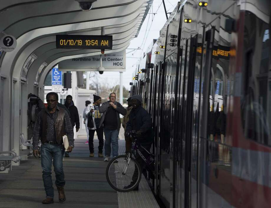 Passengers get off aMETRORed Line train at Houston Community College Northline Campus on Thursday, Jan. 10, 2019, in Houston. METRO plans to extend it to North Shepherd Park and Ride.>>>See what parts of town have the worst traffichot spots... Photo: Yi-Chin Lee, Houston Chronicle / Staff Photographer / © 2019 Houston Chronicle
