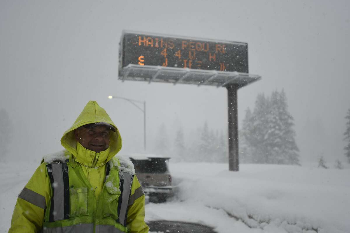 Snow impacts the city of South Lake Tahoe, California on February 14th, 2019 An atmospheric river drops up to five feet of snow in South Lake Tahoe during the week of February 11th. Chain control and messy roads impact travel and locals are preparing for the bulk of the storm