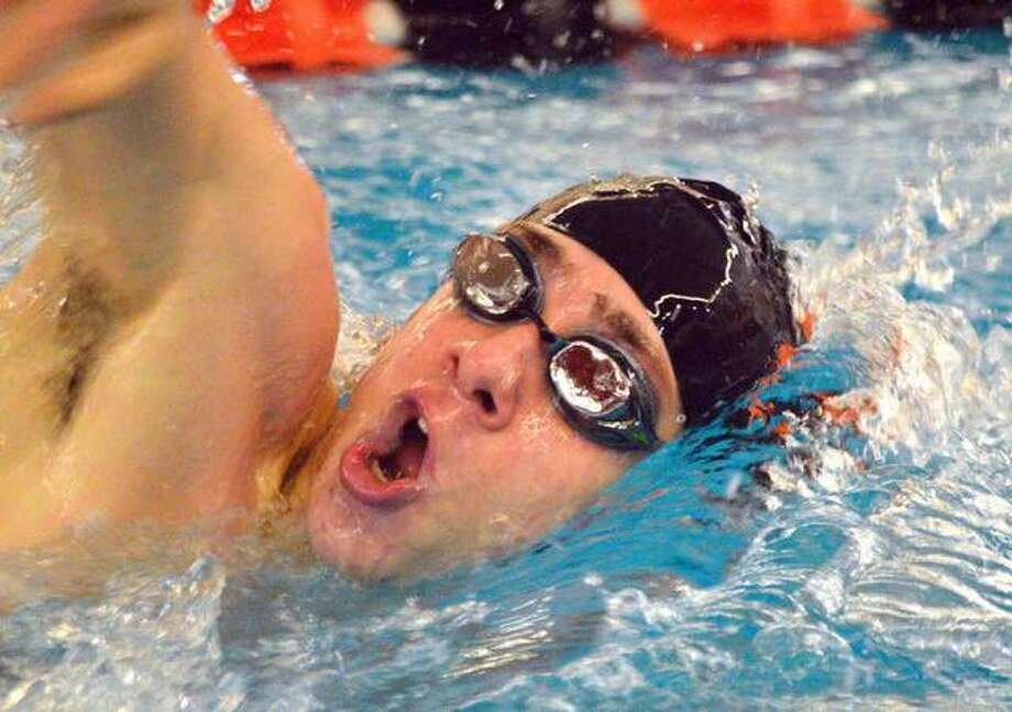 Edwardsville junior Mathiew Doyle swims in the 200-yard freestyle in the Iron Invite on Jan. 5 at Normal Community High School. Doyle will compete in the same event in Saturday's Edwardsville Sectional at Chuck Fruit Aquatic Center. Photo: Scott Marion/Intelligencer