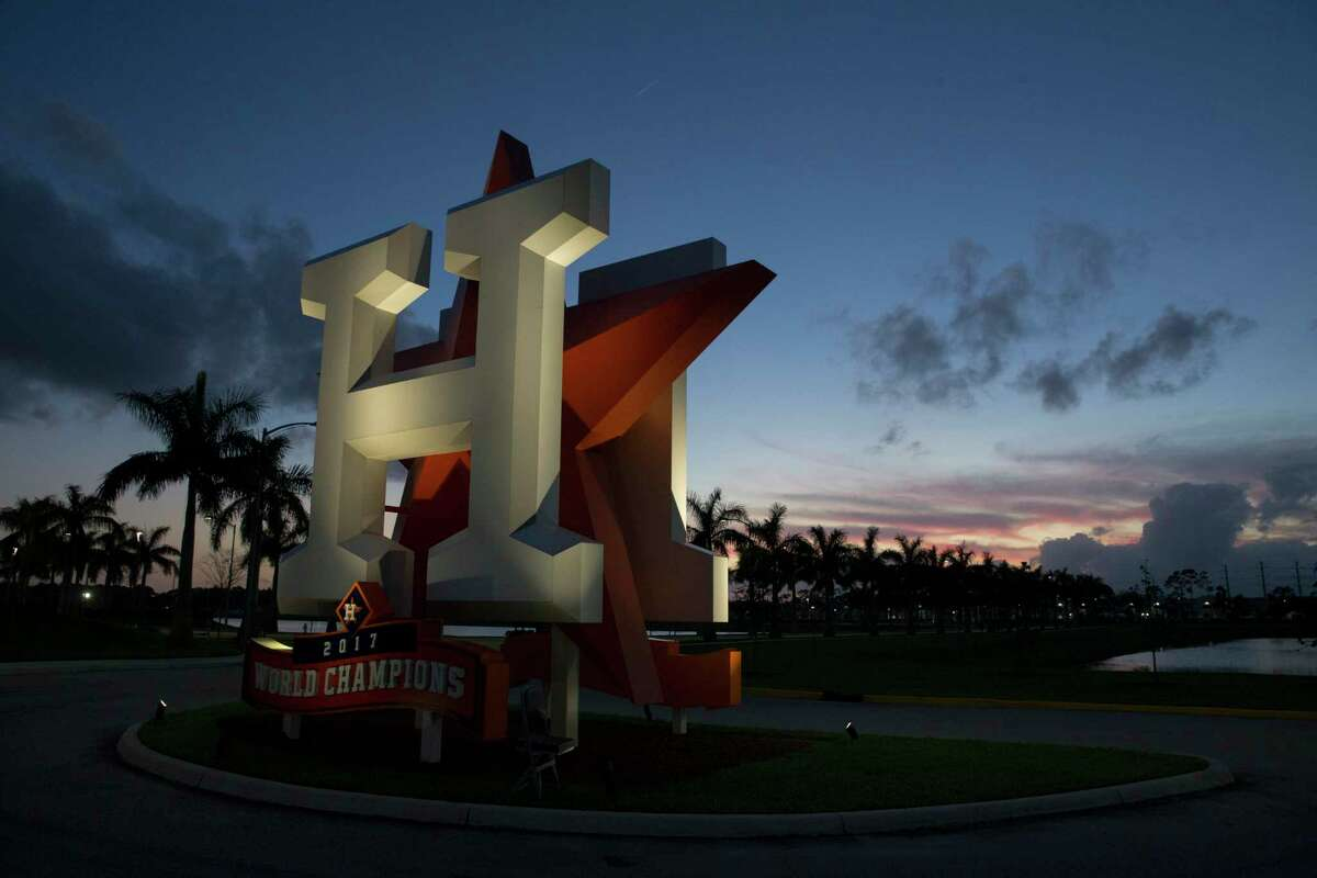 After a rainy Wednesday, the weather has given the Houston Astros a good start on Day 1 of spring training at Fitteam Ballpark of The Palm Beaches on Thursday, Feb. 14, 2019, in West Palm Beach.