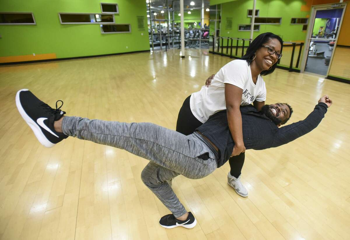 Fred Vernon and LaSan Gilder practice with their coach Robin Heniger for Dancing with the Stars at Exogyn on Wednesday. Photo taken on Wednesday, 2/13/19. Ryan Welch/The Enterprise