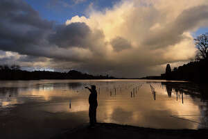 Aldo Cabrera, of Forestville, Calif., photographs the sunset at Wholer Road in Forestville, Calif., as the Russian River and Mark West Creek floods vineyards, Thursday, Feb. 14, 2019. Waves of heavy rain pounded California on Thursday, trapping people in floodwaters, washing away a mountain highway, triggering a mudslide that destroyed homes and forcing residents to flee communities scorched by wildfires last year. (Kent Porter/The Press Democrat via AP)