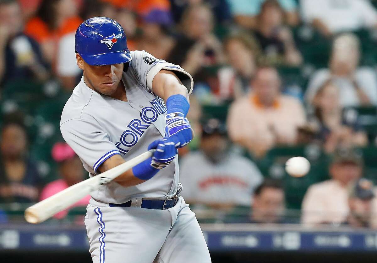 Toronto Blue Jays second baseman Yangervis Solarte (26) connects for a foul ball in the first inning against the Houston Astros at Minute Maid Park on Wednesday, June 27, 2018 in Houston. (Elizabeth Conley/Houston Chronicle)