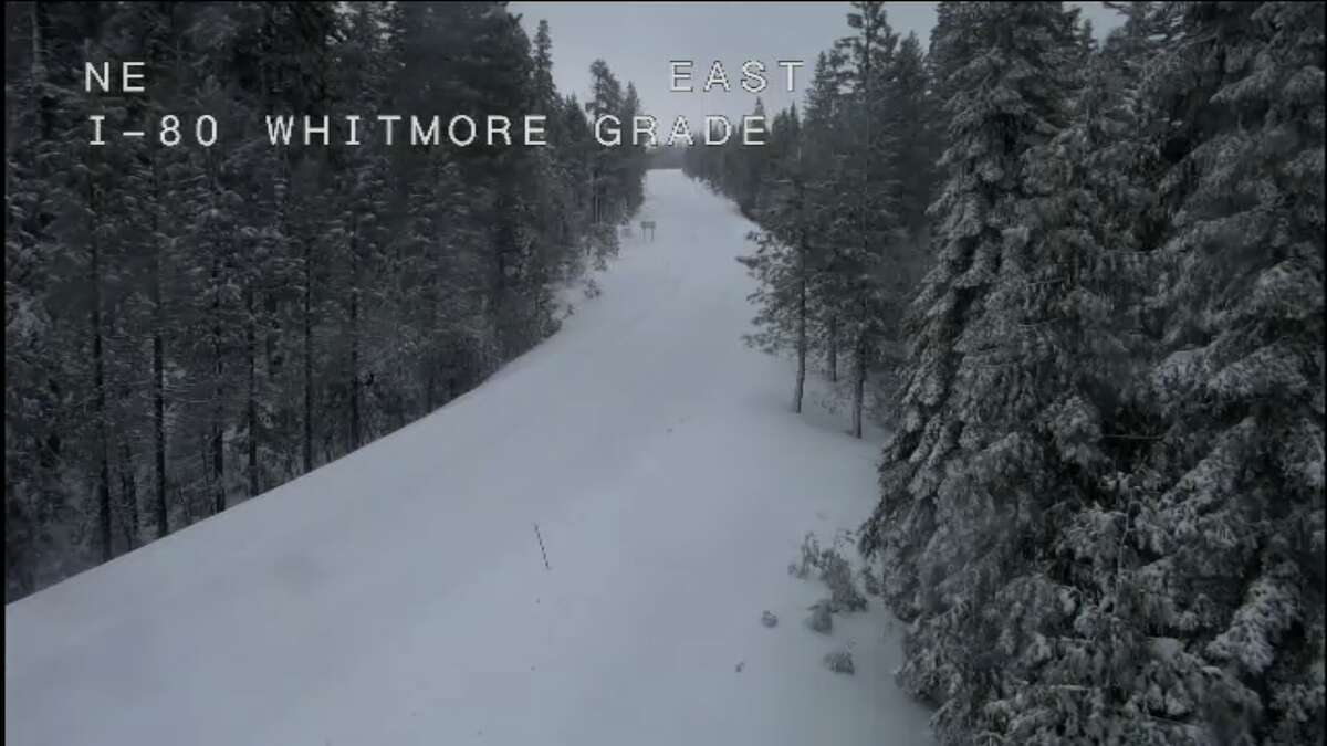 A CalTrans camera shows i-80 closes at the Whitmore Grade. A 70-mile stretch of Interstate 80 over the Sierra Nevada mountain range was closed Thursday night due to white-out conditions and the road remained closed Friday morning Feb. 15, 2019.