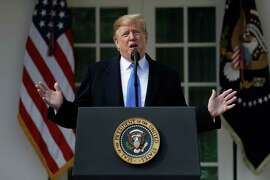 President Donald Trump speaks during an event in the Rose Garden at the White House to declare a national emergency in order to build a wall along the southern border, Friday, Feb. 15, 2019, in Washington.
