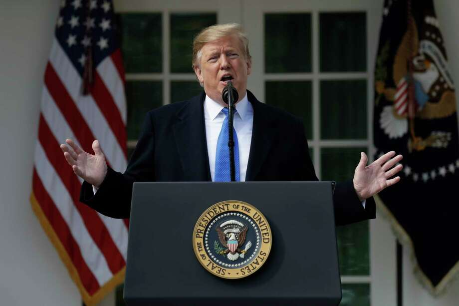 President Donald Trump speaks during an event in the Rose Garden at the White House to declare a national emergency in order to build a wall along the southern border, Friday, Feb. 15, 2019, in Washington. Photo: Evan Vucci, AP / Copyright 2019 The Associated Press. All rights reserved.
