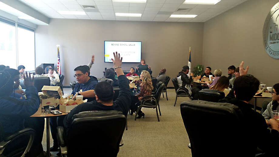 Lee and Midland high school students meet with the Midland Chamber of Commerce for the first Beyond School Walls collaborative. Photo: Courtesy Photo