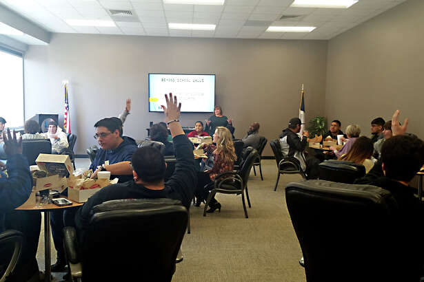 Lee and Midland high school students meet with the Midland Chamber of Commerce for the first Beyond School Walls collaborative.