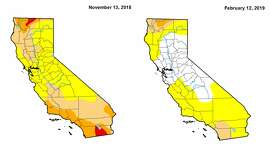 The federal government's U.S. Drought Monitor map is one measurement for drought that's mainly used in agriculture, and the latest iteration released Feb. 12 shows the San Francisco Bay Area out of the drought status. The map from three months before shows abnormally dry conditions in the Bay Area.