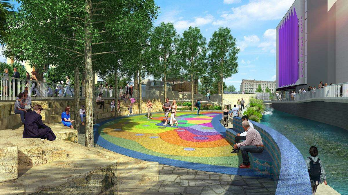 Plans for the second segment of the San Pedro Creek Culture Park include an outdoor entertainment plaza just south of Houston Street, across the creek from the Alameda Theater. The recent discovery of a historic church foundation could affect the plaza design, depending on input from the public in November.