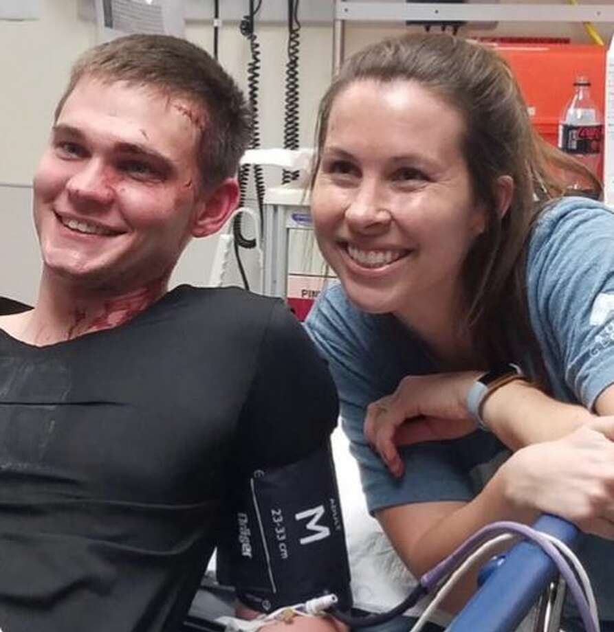 Officer Treston Marshall was stitched up by his wife after suffering a head injury during a foot chase on Feb. 14, 2019. Photo: San Antonio Police Department