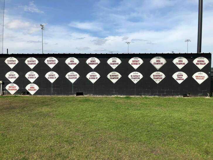 The back of the first base dugout at the field in Huffman is lined with signs recognizing district championships and playoff runs of past Hargrave baseball teams (the sign for the team's 2018 regional semifinal run has not been put up yet)