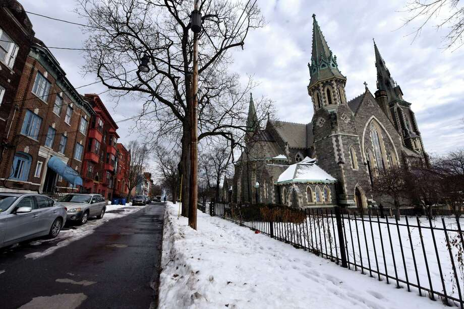 Exterior of St. Joseph's Church in the Ten Broeck Triangle on Friday, Feb. 15, 2019, in Albany, N.Y. Ten Broeck Triangle residents are dismayed that no funds from a $10 million project to revitalize Downtown will go to maintaining St. Joseph's Church.  (Will Waldron/Times Union) Photo: Will Waldron, Albany Times Union / 40046221A