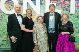 Keith Geeslin, Prisca Geeslin, Cynthia Gunn, John Gunn and Dede Wilsey attend Monet: The Late Years Black Tie Dinner at the de Young on February 13th 2019 at de Young Museum in San Francisco.
