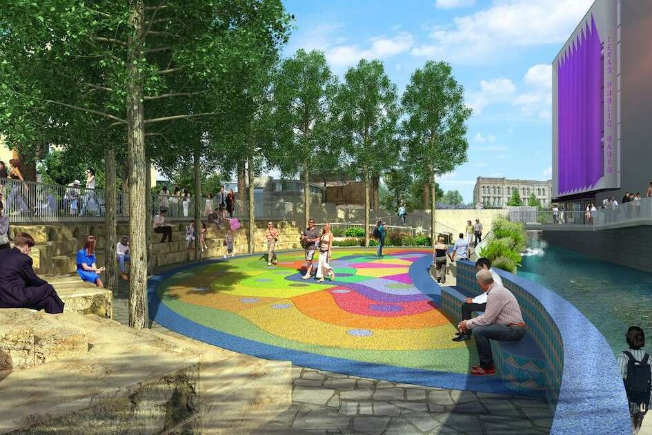 A focal point of the second segment of San Pedro Creek Culture Park now under construction will be this community gathering plaza, which will include an outdoor stage for performances, as seen in this rendering provided by the project developers on Friday, Feb. 15, 2019.