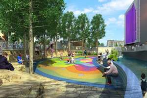 A focal point of the second segment of San Pedro Creek Culture Park now under construction will be a community plaza, which will include an outdoor stage, as seen in this rendering provided by the project developers on Feb. 15, 2019.
