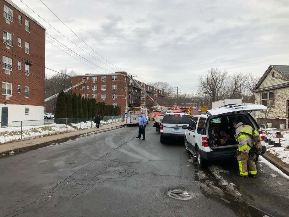 West Haven crews responded to a fire on Greta Street on Friday afternoon, Feb. 15, 2019. Photo: Ben Lambert / Hearst Connecticut Media