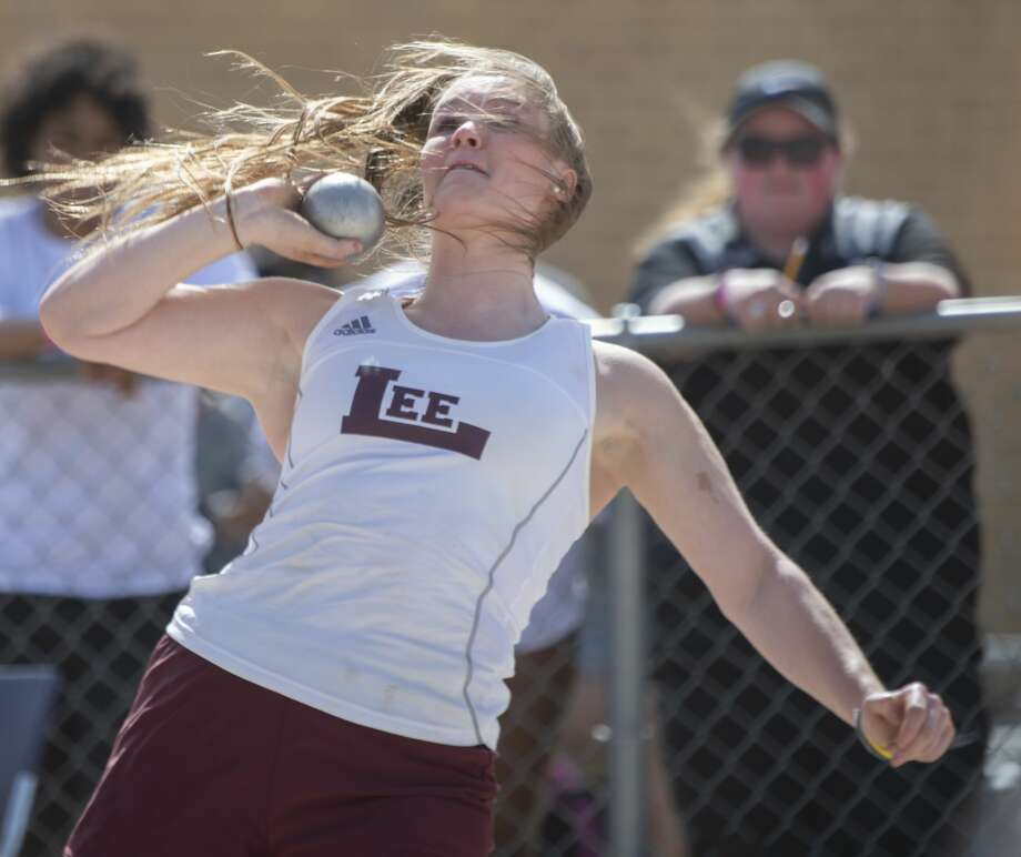 Lee High's Paige Low puts the shot 02/15/2019 at the Tall City Invitational track at Memorial Stadium. Tim Fischer/Reporter-Telegram Photo: Tim Fischer