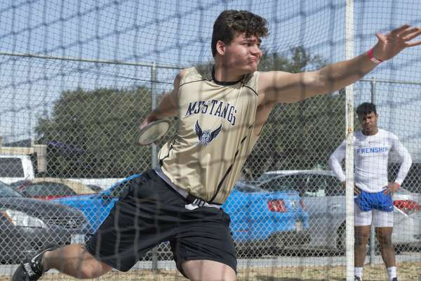 Andrews' Jacob Mechler competes in discus 02/15/2019 at the Tall City Invitational track at Memorial Stadium. Tim Fischer/Reporter-Telegram