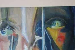 "Painting: First place: Nicole Carlo, ""Self Portrait,"" Darien High School."