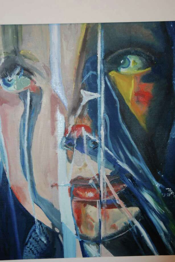 """Painting: First place: Nicole Carlo, """"Self Portrait,"""" Darien High School. Photo: Contributed Photo"""