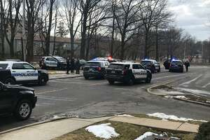Scenes from a car chase in Stamford that injured five officers Friday, Feb. 15, 2019