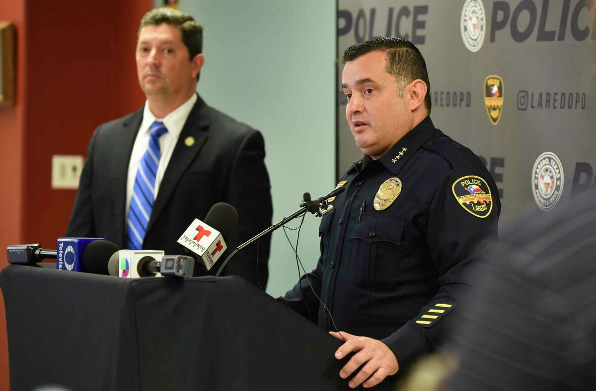 Chief of Police Claudio Treviño, right, and Webb County District Attorney Isidro Alaniz, left, hold a press conference on Friday, Feb. 15, 2019, as they release details of preliminary findings and charges relating to the discovery of human remains in an apartment at the 1800 block of Jefferson Street.