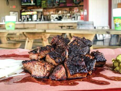 "BBQ Godfather pitmaster Tony Faour uses the most highly-marbled half of the prime-grade brisket's ""point"" to cut into cubes for his burnt ends."