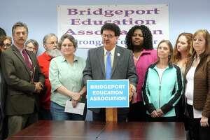 Gary Peluchette, President of the Bridgeport Education Association (BEA), speak at a meeting at the union's headquarters in Bridgeport, Conn. April 30, 2018.