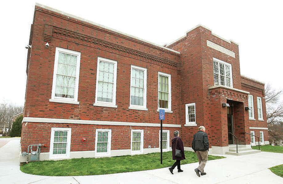 Visitors enter the Mannie Jackson Center for the Humanities at the historic former Lincoln School on Main Street in Edwardsville. Photo: John Badman | The Telegraph