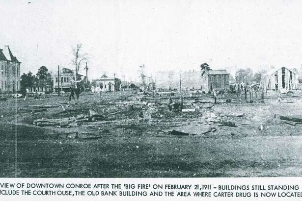 A picture of downtown Conroe the morning after a devastating fire destroyed a portion of Downtown Conroe on Feb. 21, 1911.