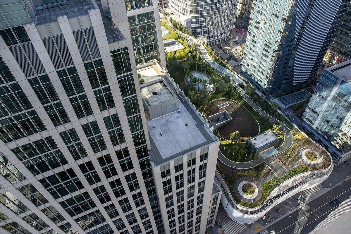 The Salesforce Transbay Center and park seen from Park Tower at Transbay on Thursday, Jan. 24, 2019, in San Francisco, Calif.