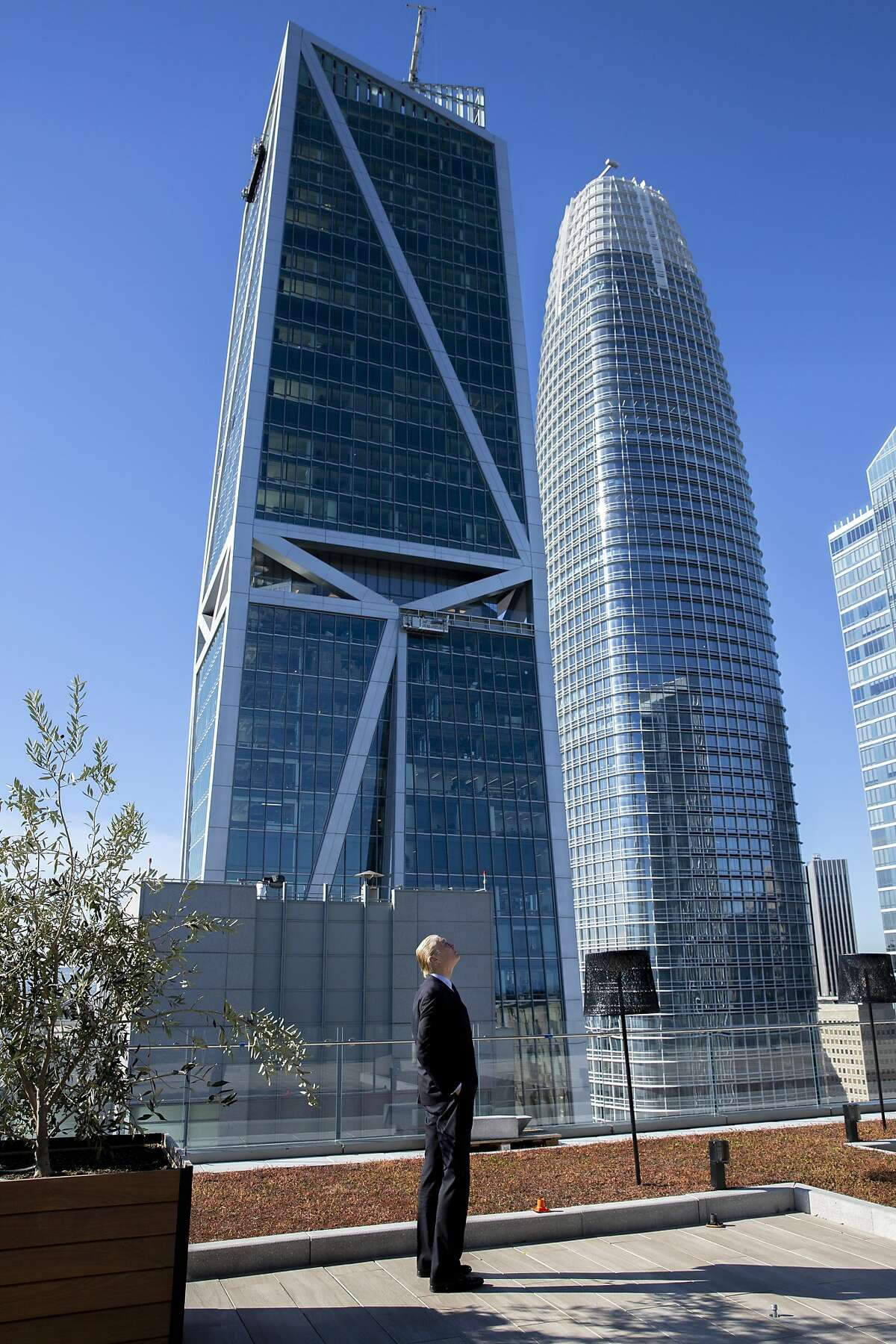 Jim Goettsch at Park Tower at Transbay located at 250 Howard Street on Thursday, Jan. 24, 2019, in San Francisco, Calif. Goettsch is the building's architect. 181 Fremont and Salesforce Tower are seen in the background.