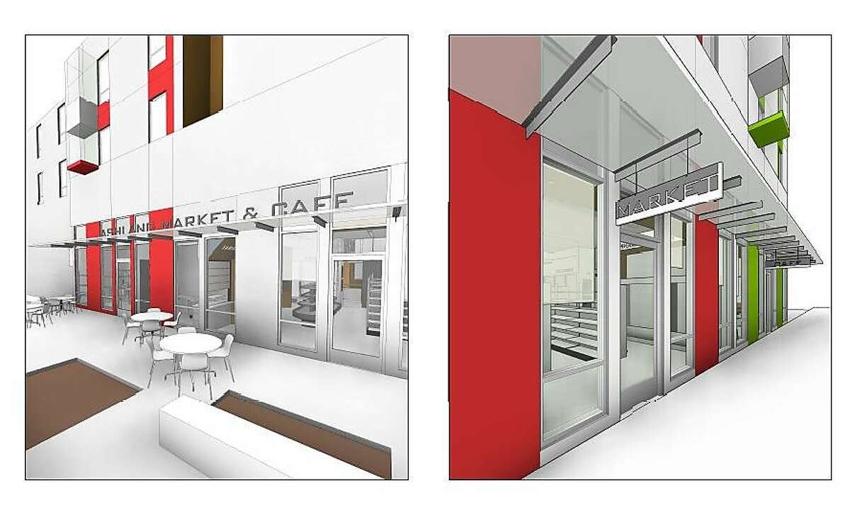 Rendering of Ashland Market & Cafe, Mandela Partners' new food hall and culinary incubator space set to open in Ashland (Alameda County) in March.