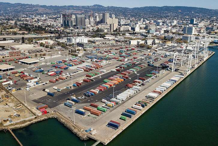 Shipping containers rest at the Charles P. Howard Terminal, a possible location for a new Oakland Athletics baseball stadium, on Monday, Sept. 17, 2018, in Oakland, Calif.