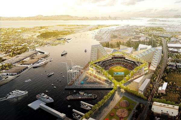 A rendering of the proposed new Oakland A's Coliseum at Howard Terminal.
