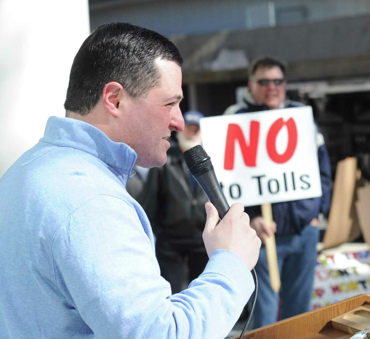 Public protest against tolls, a new gas tax and tire tax, held in front of the Stamford Goverment Center, Stamford, Conn., Saturday, Feb. 17, 2018.