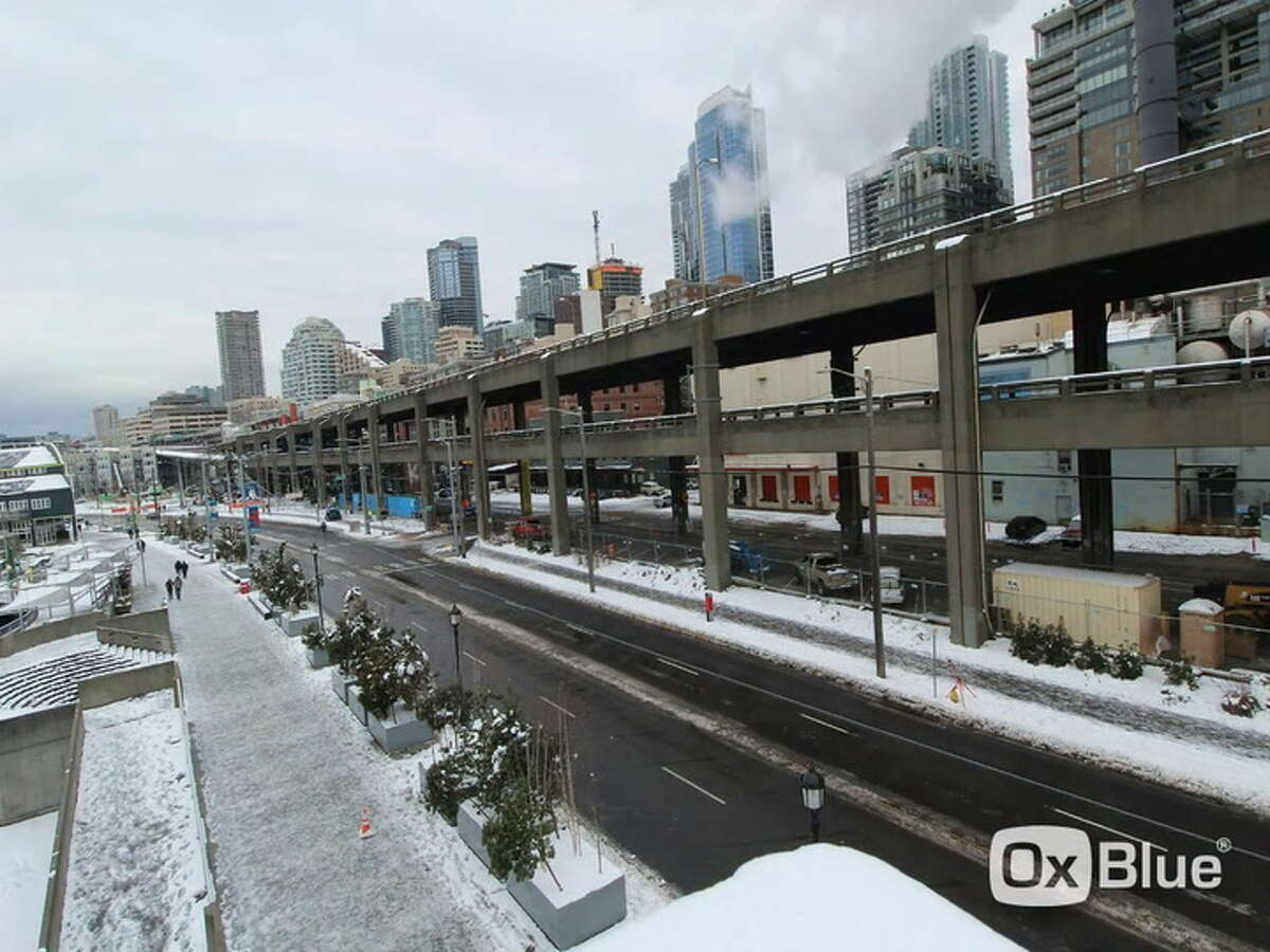 A Washington State Department of Transportation time-lapse video shows the Seattle waterfront and Alaskan Way viaduct covered in snow the week of Feb. 11.