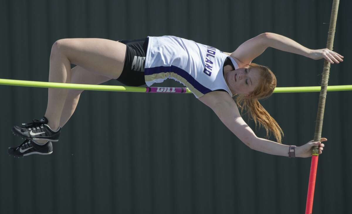 Midland High's Sara Wheeless competes in the pole vault 02/15/2019 at the Tall City Invitational track at Memorial Stadium. Tim Fischer/Reporter-Telegram